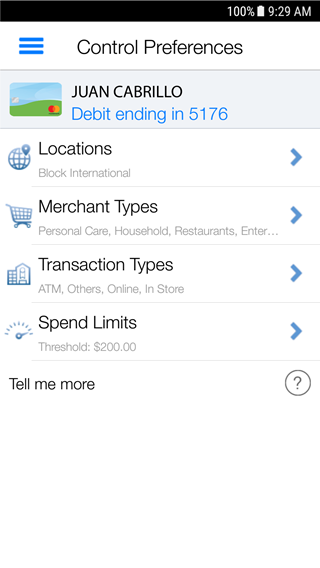 screenshot of Control Preferences