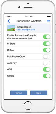 Transaction Controls screenshot
