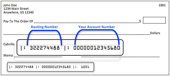 Direct deposit check example showing routing number and account number